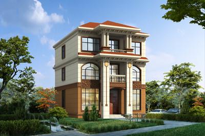 三层新农村自建小户型别墅设计图及图片 ,开间9.7米,进深12米