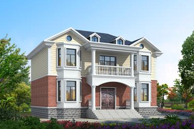 带堂屋二层房子小别墅设计图纸带外观图,17米x11米