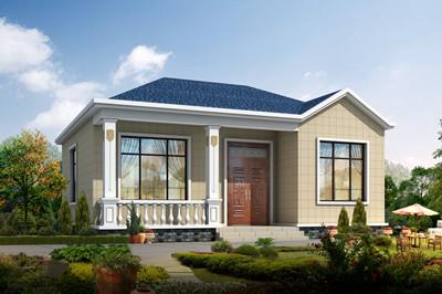 小户型平房设计图小型一层3间农村别墅设计方案,占地90平。