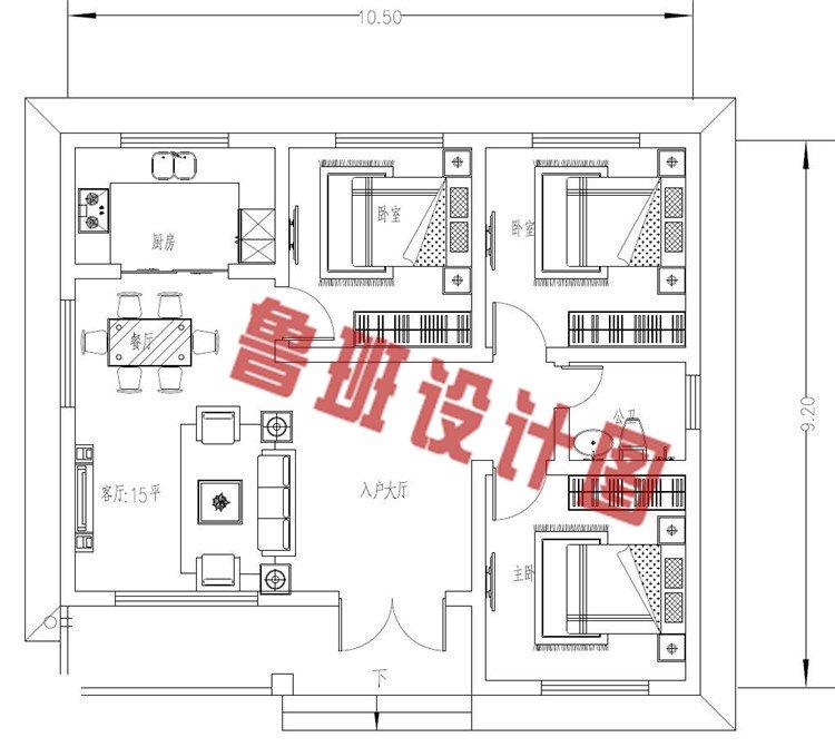 一层三间小型农村别墅设计一层户型图
