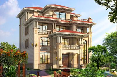 四层高端新农村复式别墅自建房设计图,外观对称设计