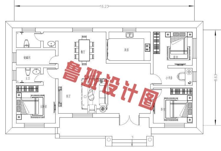 一层欧式别墅设计一层户型图