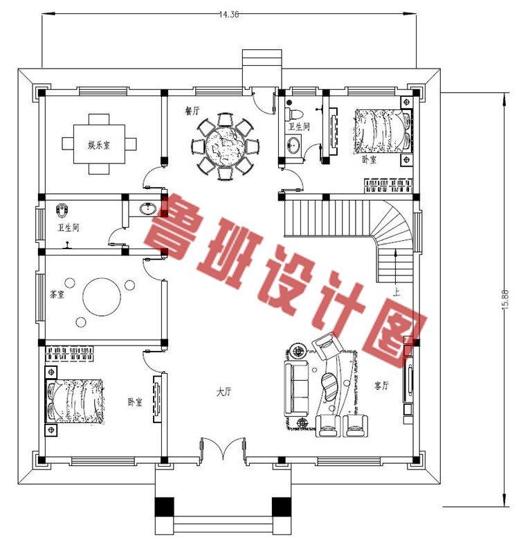 三层欧式别墅设计一层户型图
