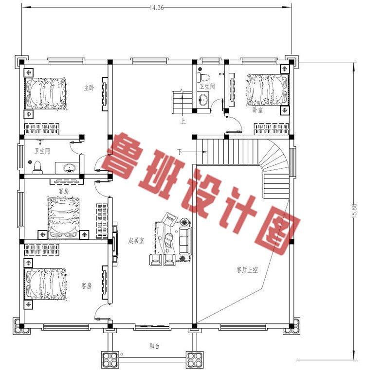 三层欧式别墅设计二层户型图