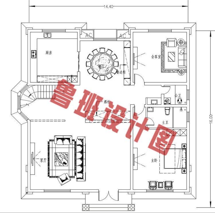 欧式三层自建房一层户型图