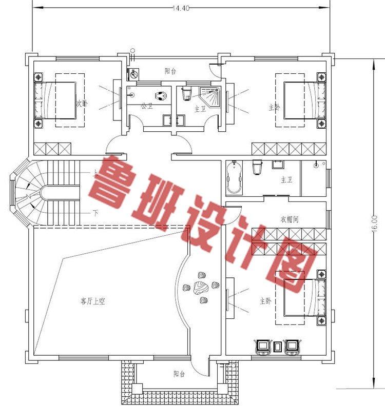 欧式三层自建房二层户型图