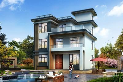 占地130平三层现代别墅设计方案,带电梯和地下室户型