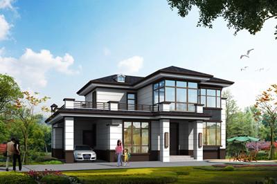 带车库的二层四开间别墅户型方案设计图,户型超喜欢