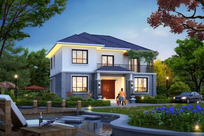 农村中式二层小楼户型设计图,占地130多平,外观漂亮