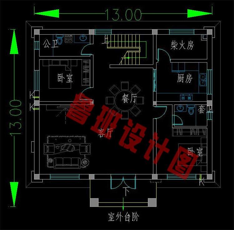 新中式二层别墅一层户型图