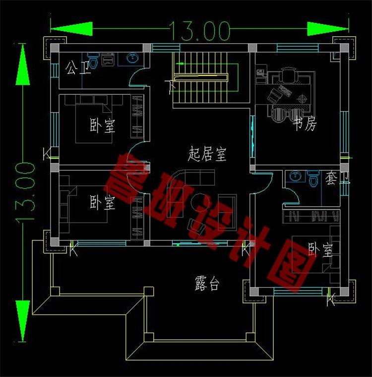 新中式二层别墅二层户型图