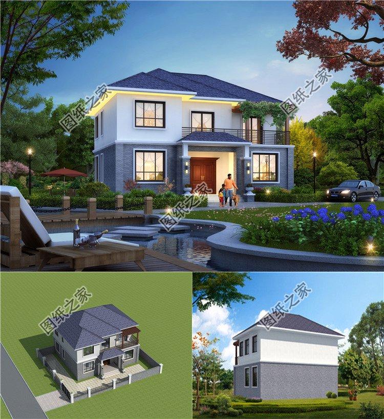 新中式二层小型别墅一层户型图