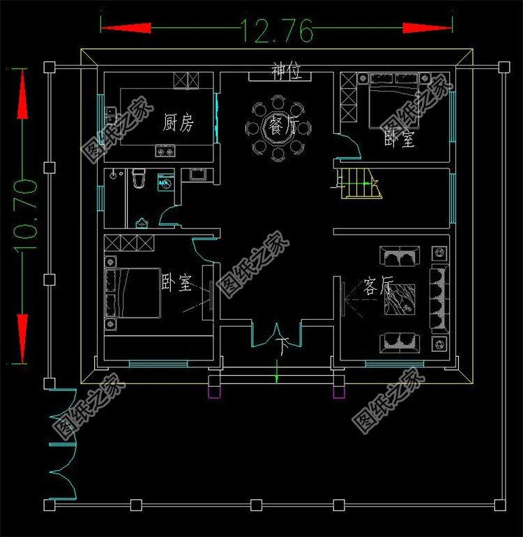 新中式二层小型别墅二层户型图