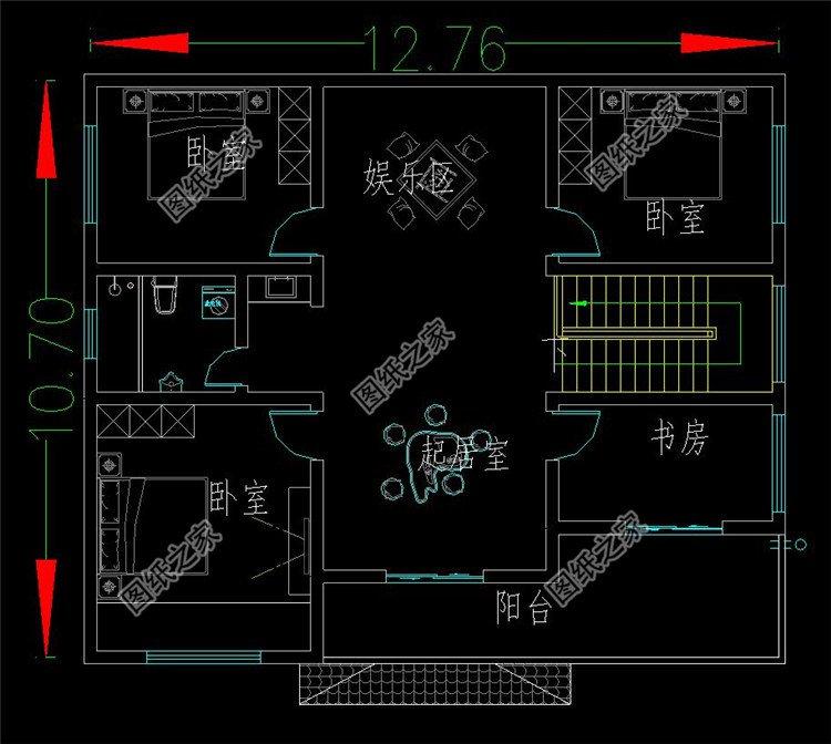 新中式二层小型别墅三层户型图