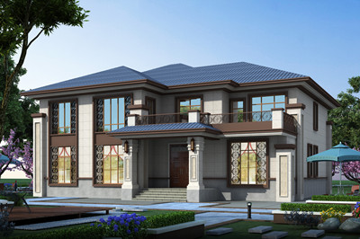 四开间二层新中式别墅户型方案设计图,带传统堂屋