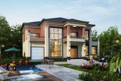 乡村挑空复式客厅两层别墅设计图,外观大气漂亮