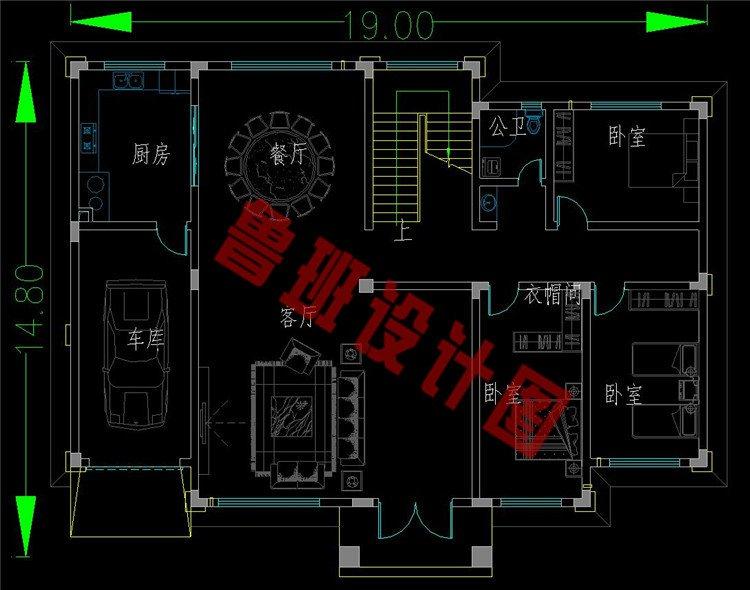 两层新中式别墅一层户型图