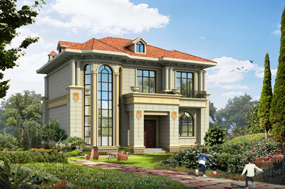 带旋转楼梯的二层复式别墅设计图,简欧风格,大气实用!