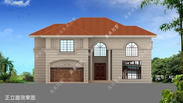 经济实用二层欧式别墅外观图,占地200平