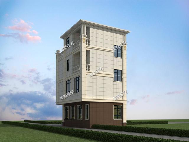 开间5米的四层别墅,占地67平带大露台,小宅基地建房首选