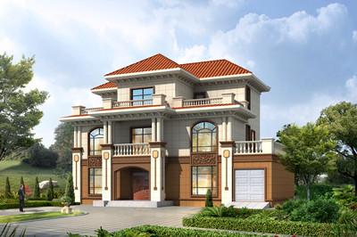面宽17米左右三层农村别墅方案设计图,带车库和露台