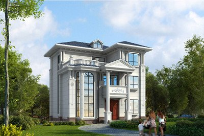 旋转楼梯挑空客厅农村三层别墅设计图,外观造型美感,11x11米