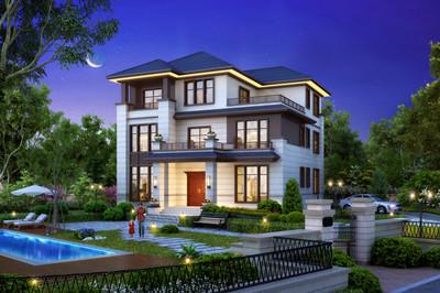 170平三层新中式别墅设计图方案,外观大气典雅