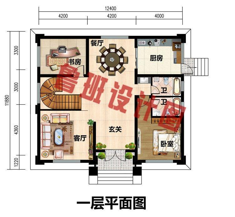 乡村三层带地下室+旋转楼梯别墅设计图纸,高端欧式