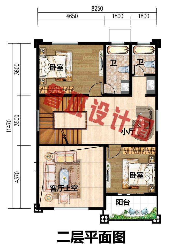三层两开间小面宽别墅设计图纸带外观效果图,95平方米户型