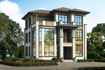 带地下层的三层欧式农村小洋楼别墅设计图,主体40-50万