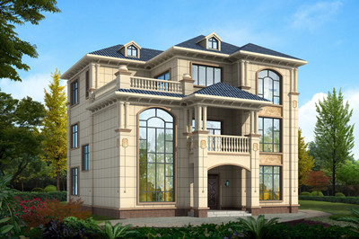 三层别墅效果图欧式农村实用自建房设计,户型方正