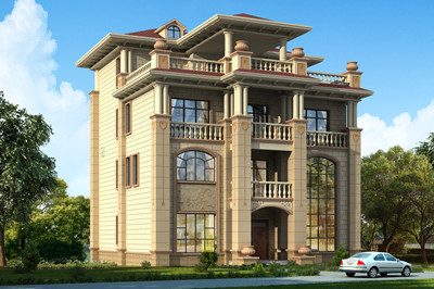 高端大气的欧复式四层别墅图,建好在农村特有面子!