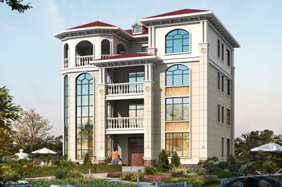 带露台凉亭的四层别墅农村房子设计图,客厅挑空设计