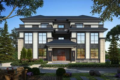 气派的中式三层双拼别墅图纸设计,外观高端大气
