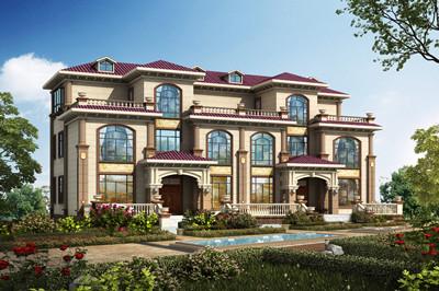 颇受农村欢迎的三层欧式双拼别墅设计图,面宽24米左右