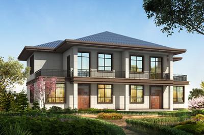 二层中式别墅双拼农村设计图纸,小而美,古中有新,脱俗雅致!
