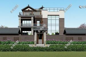 3层新中式别墅设计案例,外观端庄大气,色调新颖大方。