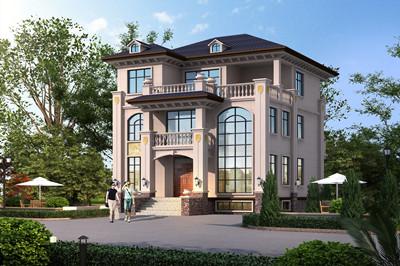 带地下室的三层简欧框架别墅设计图,挑空客厅+超豪华地下布局