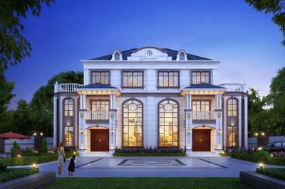 漂亮大气的三层农村双拼自建房别墅设计图,面宽23米