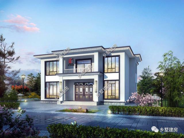 百看不厌现代风二层别墅,浪漫与庄严的结合,农村建房的新篇章