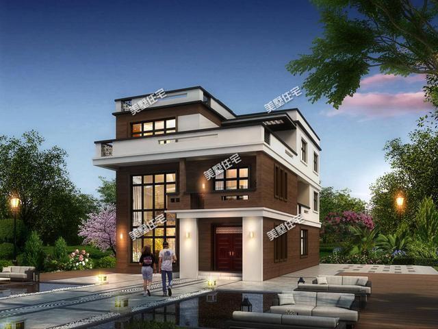 9.2x15.9米的三层现代别墅,挑高客厅很大气,个性又实用
