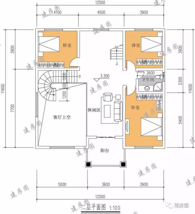 一款受众广泛10.8mX11.3m三层简欧风格别墅,建好后倍有面子