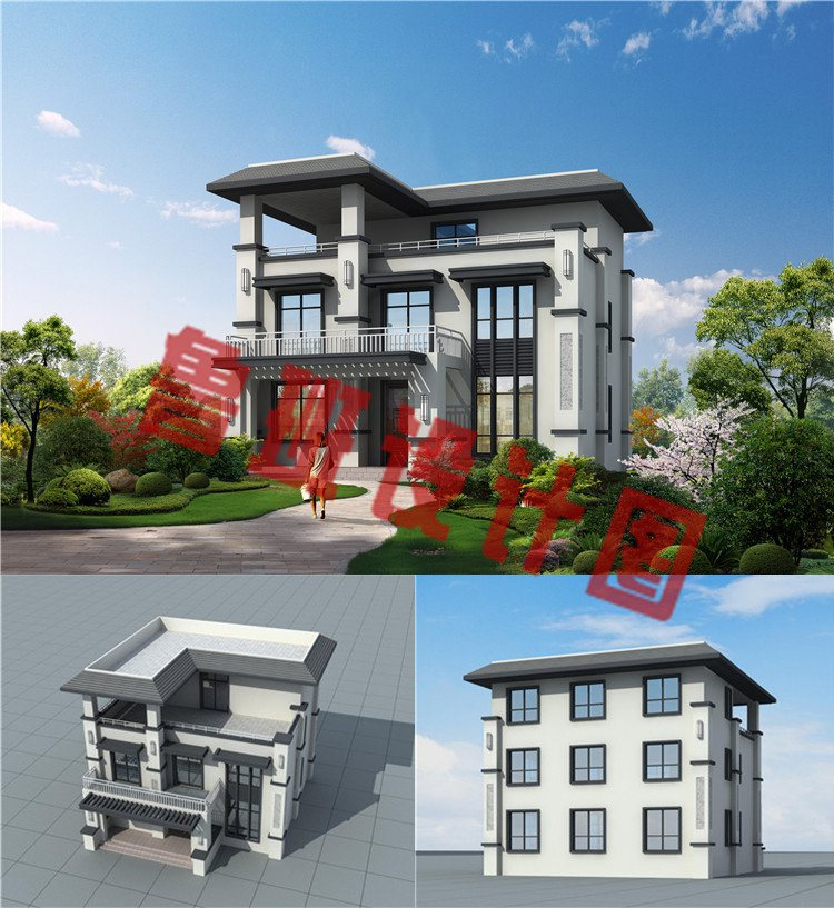 三层现代平顶别墅效果图