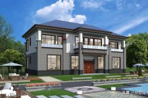 中式双拼别墅效果图,在风格和造型上都极具优质感。