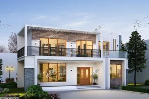 14×10米二层别墅设计图纸,充分保证现代风格的简洁与时尚。