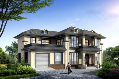 带车库二层农村豪华别墅设计图,中式风格,主体25万的造价