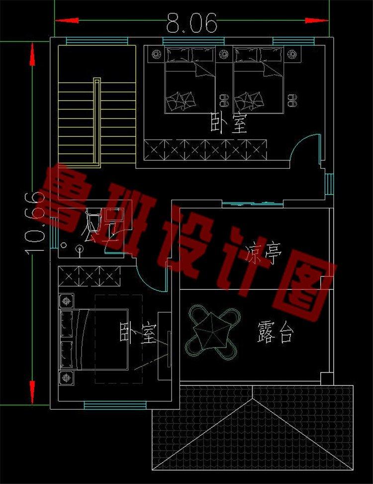 90来平新农村自建三层房屋三层平面图