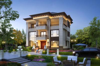 漂亮三层别墅图片及全套施工图,13X11米新中式三层美宅