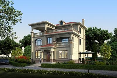带地下储藏间的独栋三层别墅设计图,外观简欧风格