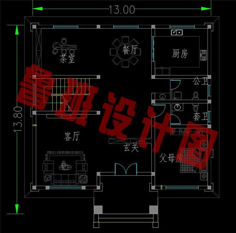 新款三层欧式复式别墅设计图一层平面图